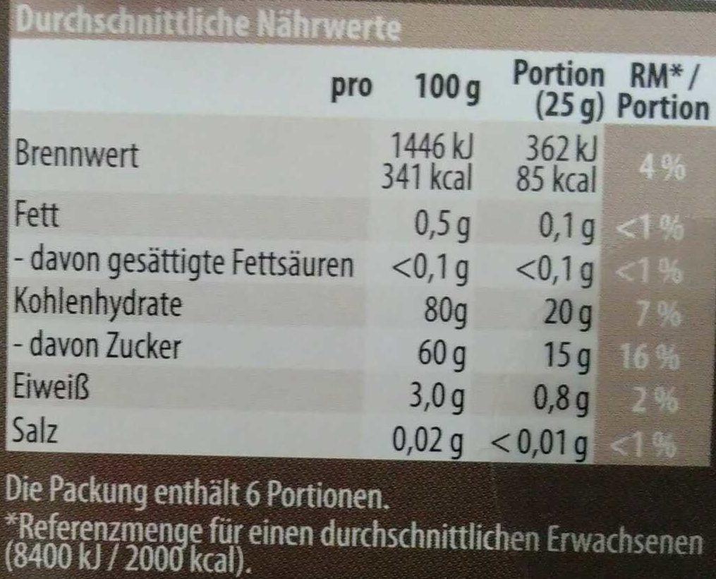 Getrocknete Weinbeeren hell & dunkel - Informations nutritionnelles - de