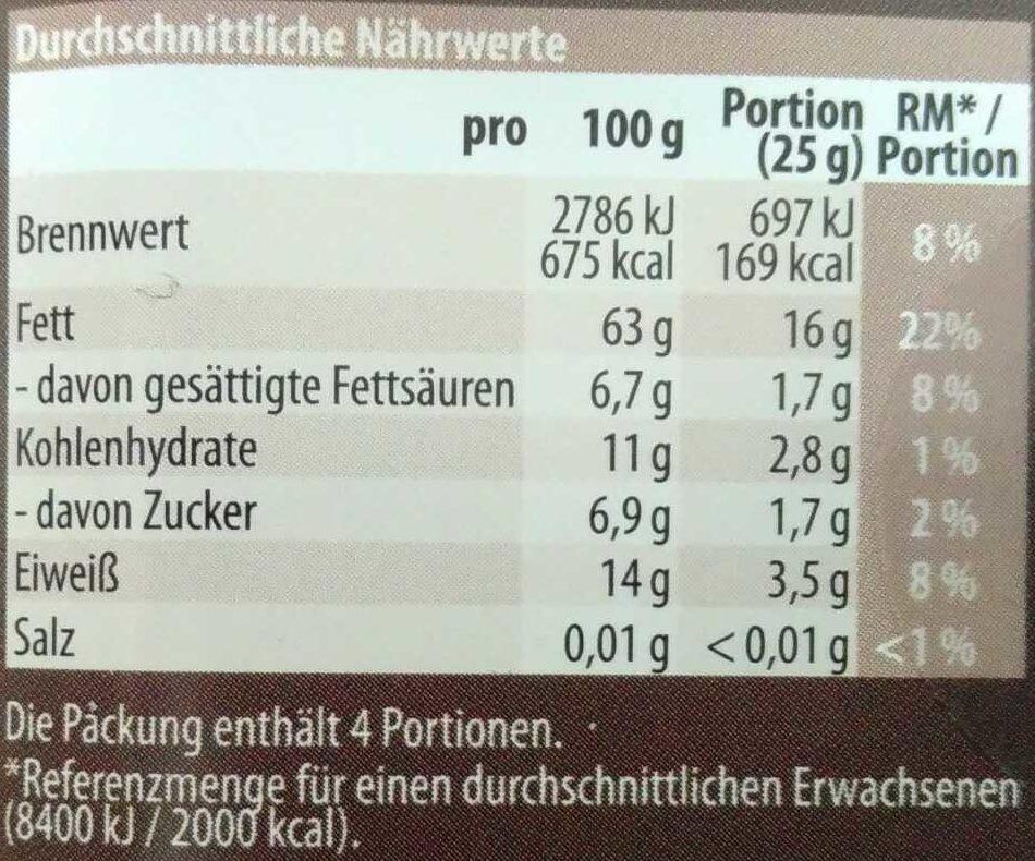 Naturbelassene Walnusskerne - Nutrition facts - de