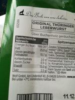 Original Thüringer Leberwurst, Hausmacher Art - Nutrition facts - fr