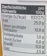 Bayerische Gelbwurst - Nutrition facts - de