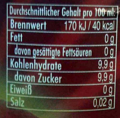 Hubauer Cola-mix lemonade - Nährwertangaben