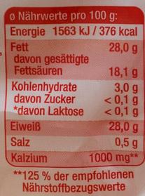 Geriebener Emmentaler - Nutrition facts