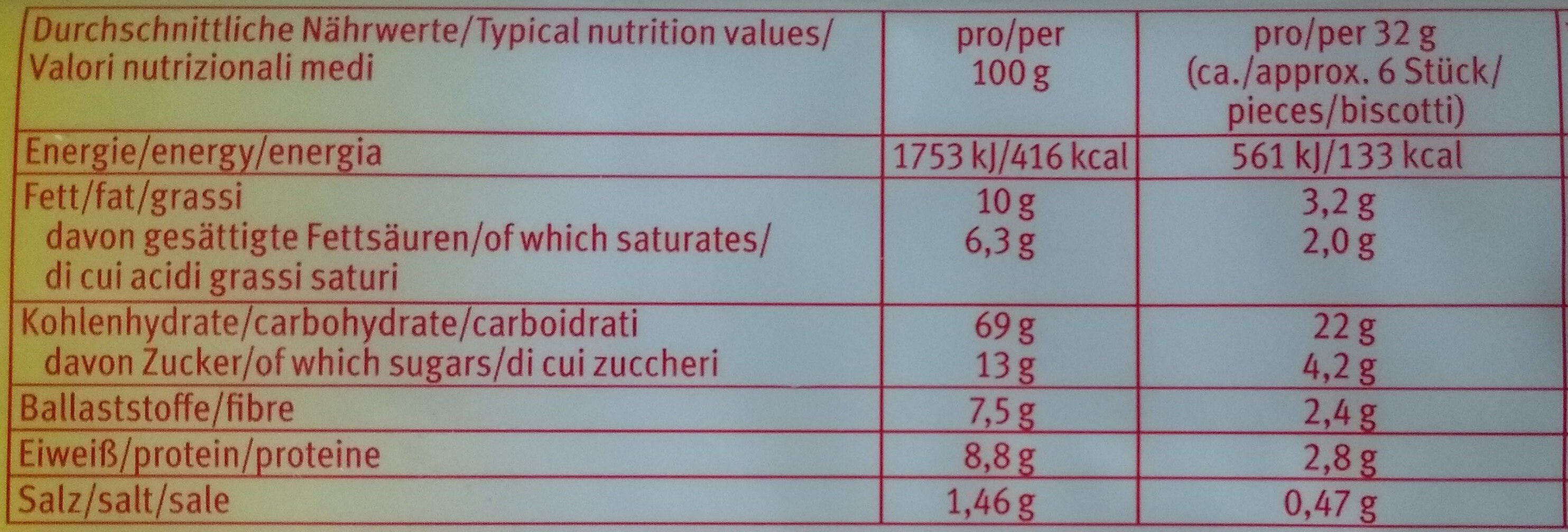 Leibniz Butterkeks -30% weniger Zucker - Voedigswaarden