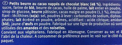 Choco Leibniz White - Ingredients - en