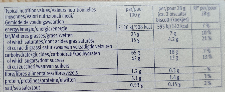 Choco Leibniz White - Nutrition facts - it