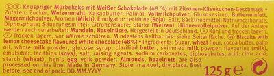 Keks mit weisser Schokolade & Zitronen-Käsekuchen Geschmack - Ingredients