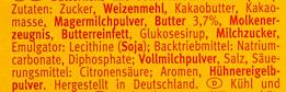 Leibniz - Choco Vollmilch - Inhaltsstoffe