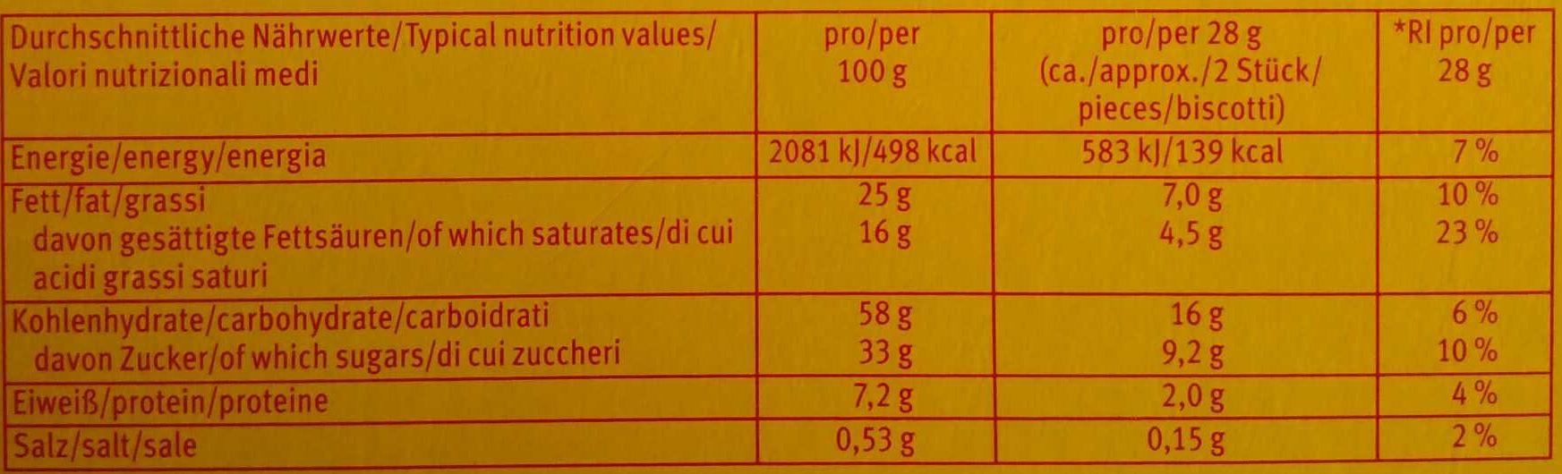 Choco Leibniz - Informations nutritionnelles - de