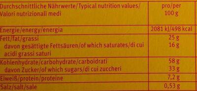 Choco edelherb Kekse - Nährwertangaben - de