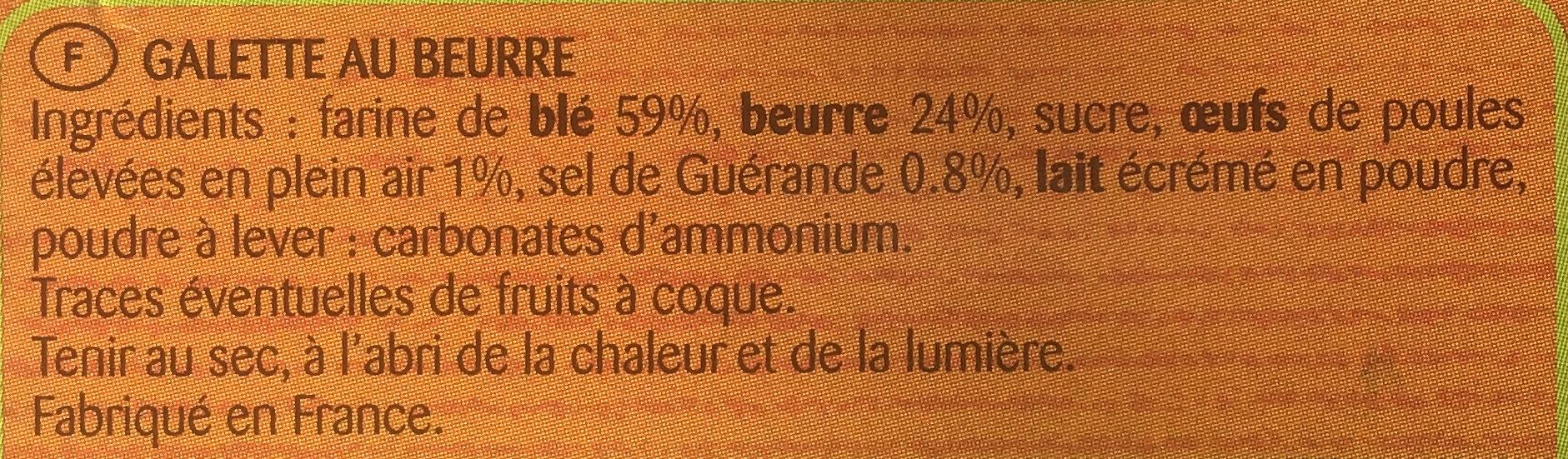 La Grande Galette 1905 - Ingredienti - fr