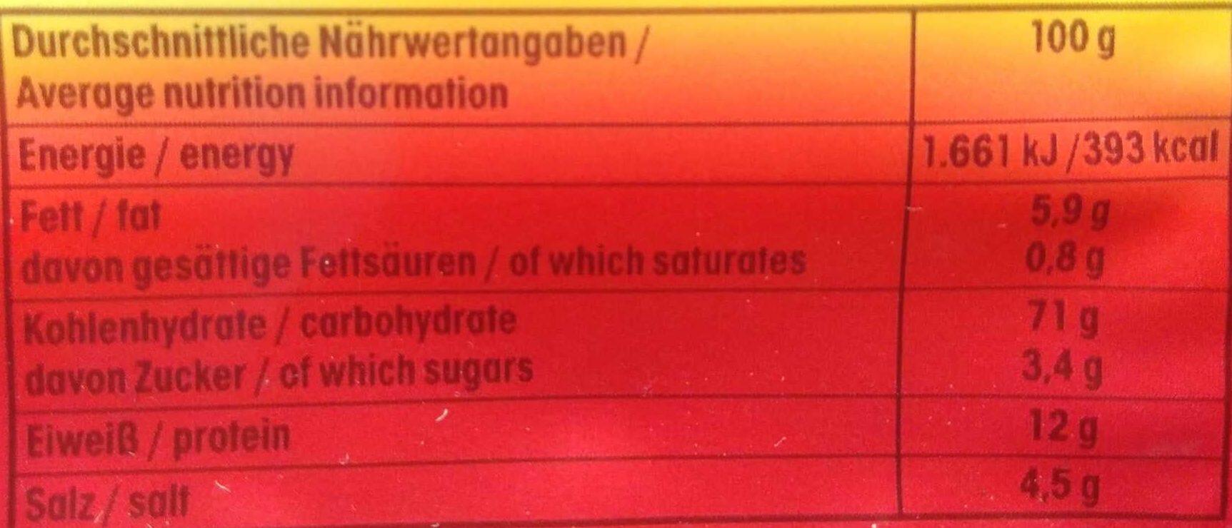 Saltletts - Nährwertangaben - de