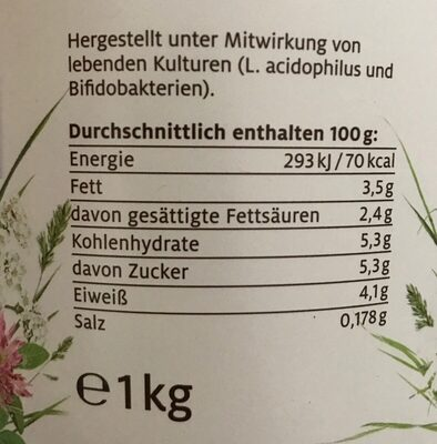 Johgurt mild 3,5% fett - Nutrition facts - de