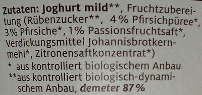 Pfirsich Maracuja Fruchtjoghurt - Inhaltsstoffe
