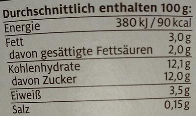 Pfirsich Maracuja Fruchtjoghurt - Nährwertangaben