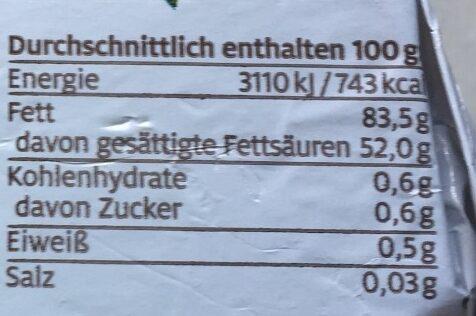 Beurre Schrozberg demeter - Nutrition facts