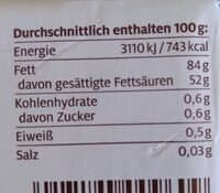 Süßrahmbutter Schrozberger milchbauern - Valori nutrizionali - de