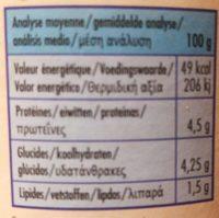 Kefir Doux 1.5% MG - Información nutricional - fr