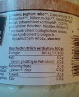 Rhabarber-Vanille Joghurt mild - Ingrédients - de