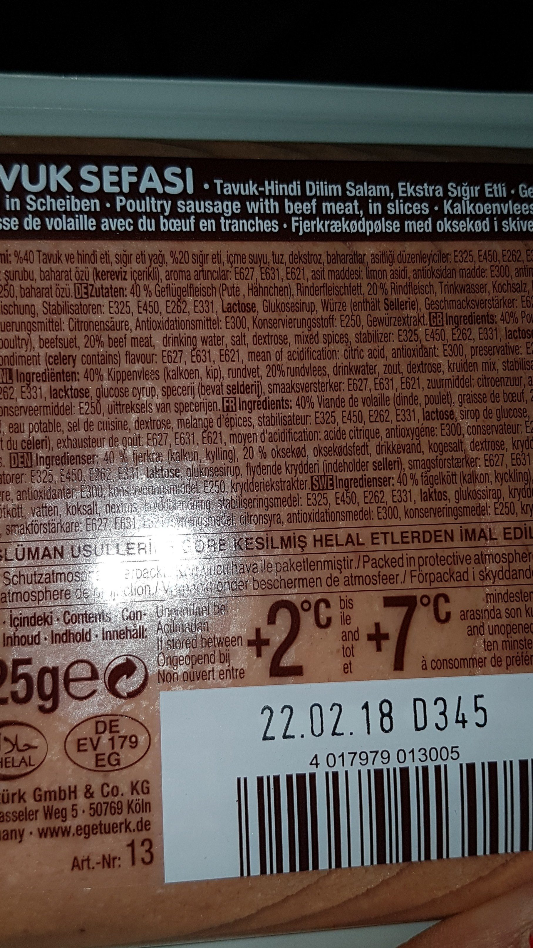 Egeturk Kipsalami - Ingredients - fr
