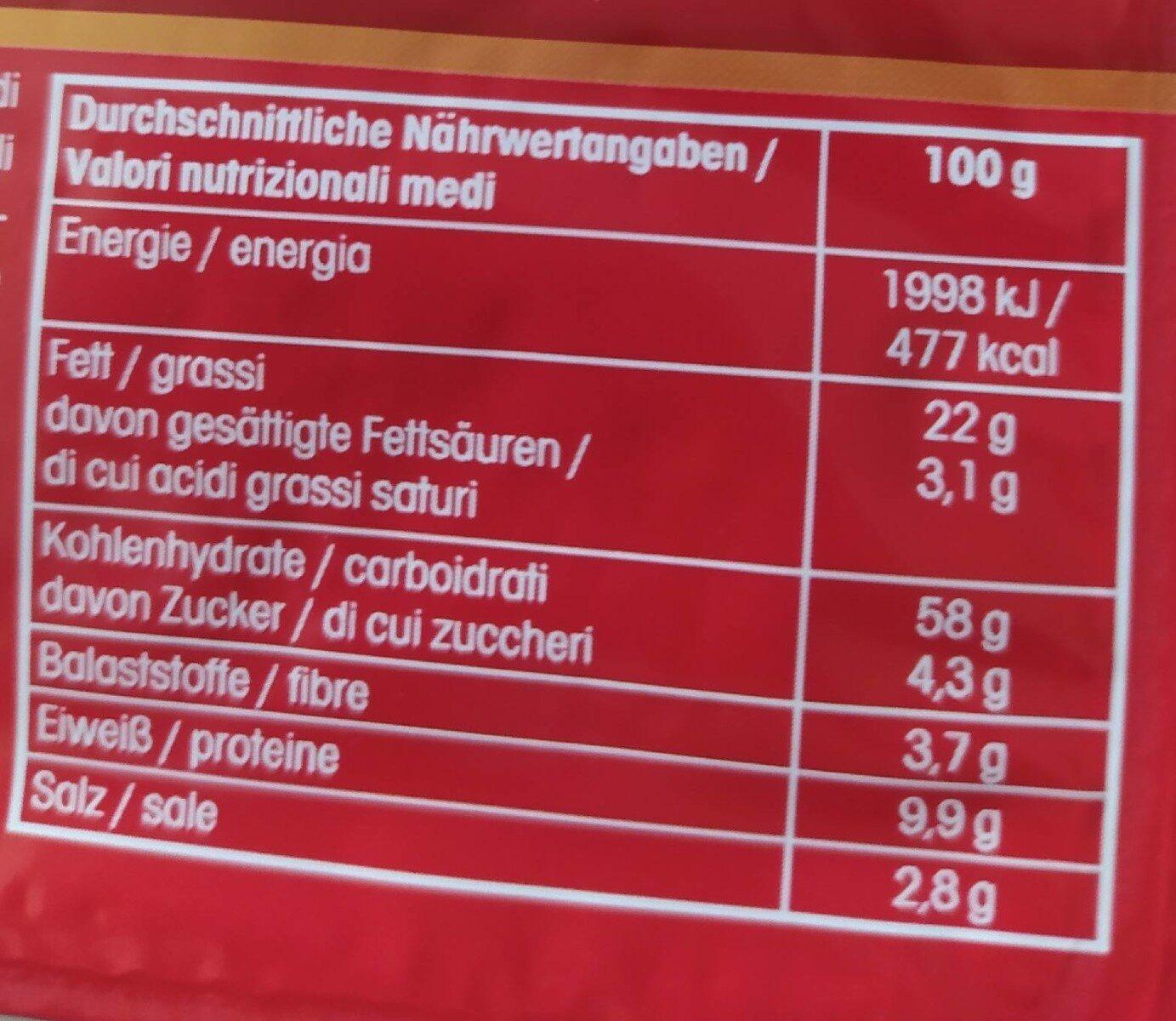 Snack Hits - Valori nutrizionali - de