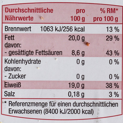 Rinder Hackfleisch - Nutrition facts - de