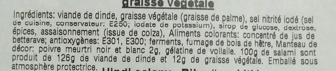 Salami de dinde enrobé au poivre à la graisse végétale - Ingrediënten - fr