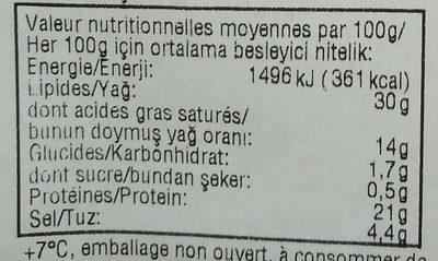 Salami de dinde enrobé au poivre à la graisse végétale - Voedingswaarden - fr