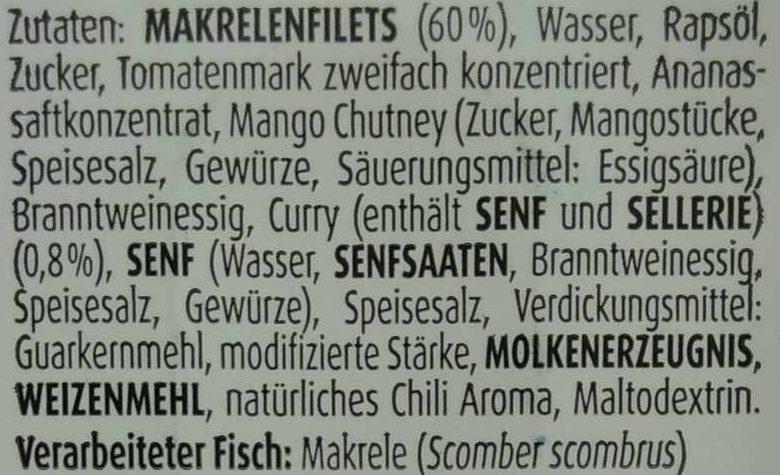 Makrelenfilets Curry - Ingredients