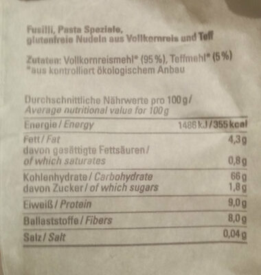 Fusilli Vollkornreis-Teff - Ingredients