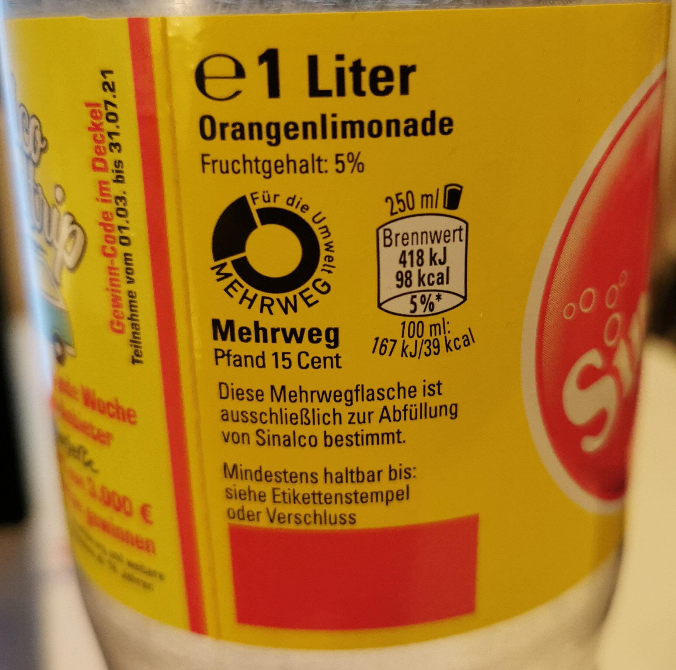 Sinalco Orange - Wiederverwertungsanweisungen und/oder Verpackungsinformationen - de