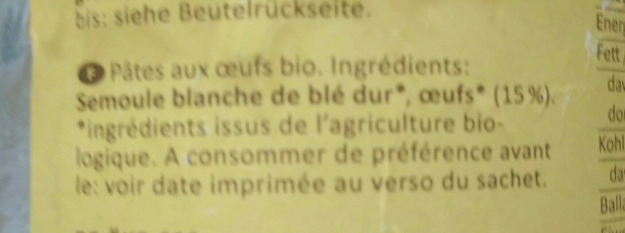 Pâtes aux œufs bio - Ingrédients
