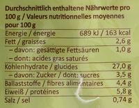 Pates frauche a l epeautre, oeufs et pommes de terre - Informations nutritionnelles - de