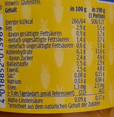 Rahmkartoffeln mit Karotten und Hühnchen - Informations nutritionnelles - de