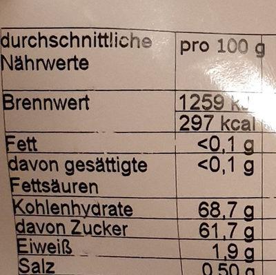 Apfelringe getrocknet, geschwefelt - Informations nutritionnelles - de