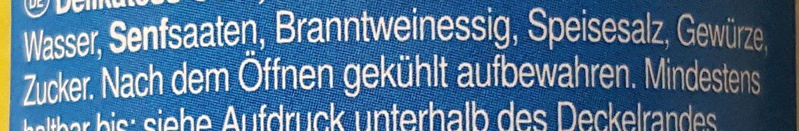 Delikatess-Senf mittelscharf - Ingrediënten