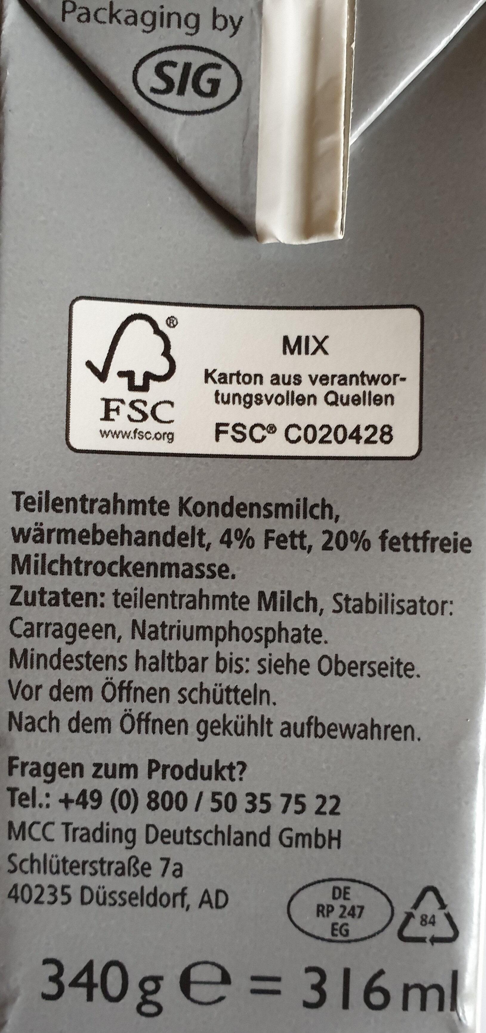 Kondensmilch - Zutaten - de