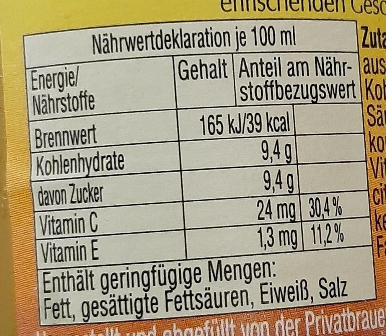 Gessner Tropic - Informação nutricional - de