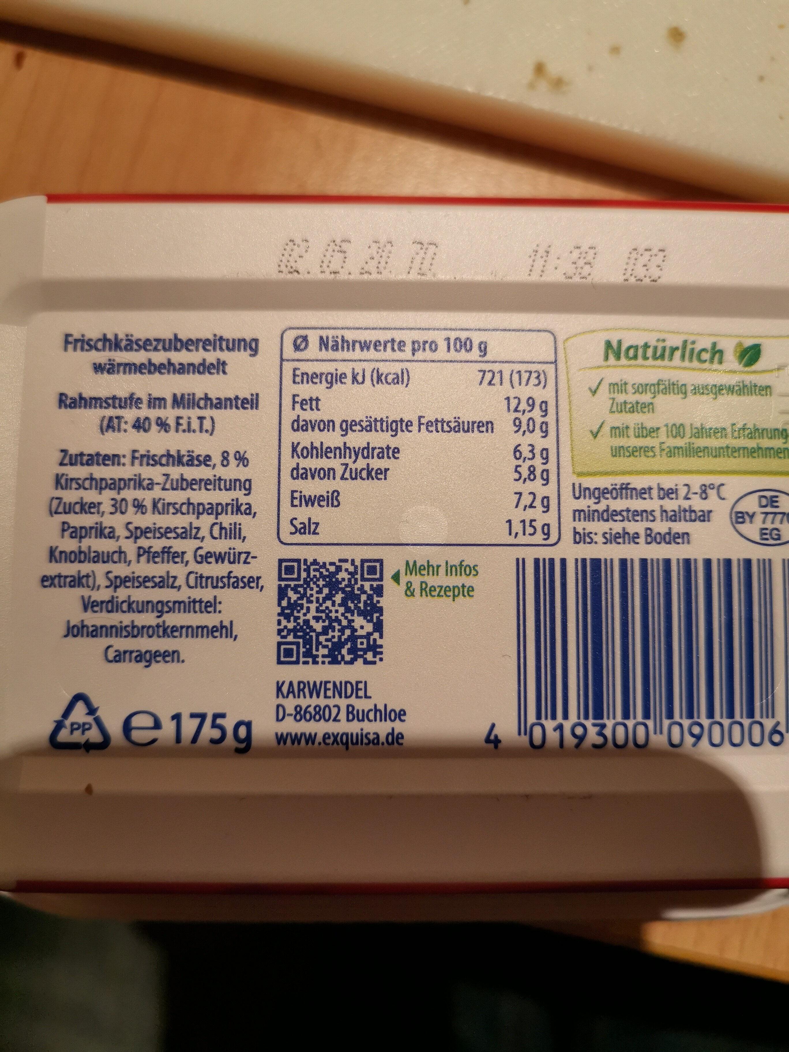 Creation Kirsch-Paprika - Nutrition facts - de