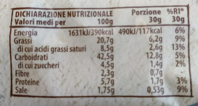pasta fresca brisée rotonda - Nutrition facts