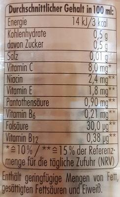 Grapefruit zuckerfrei - Nährwertangaben
