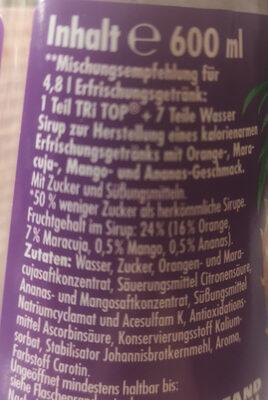 TRI TOP Sirup Tropical - Ingrediënten