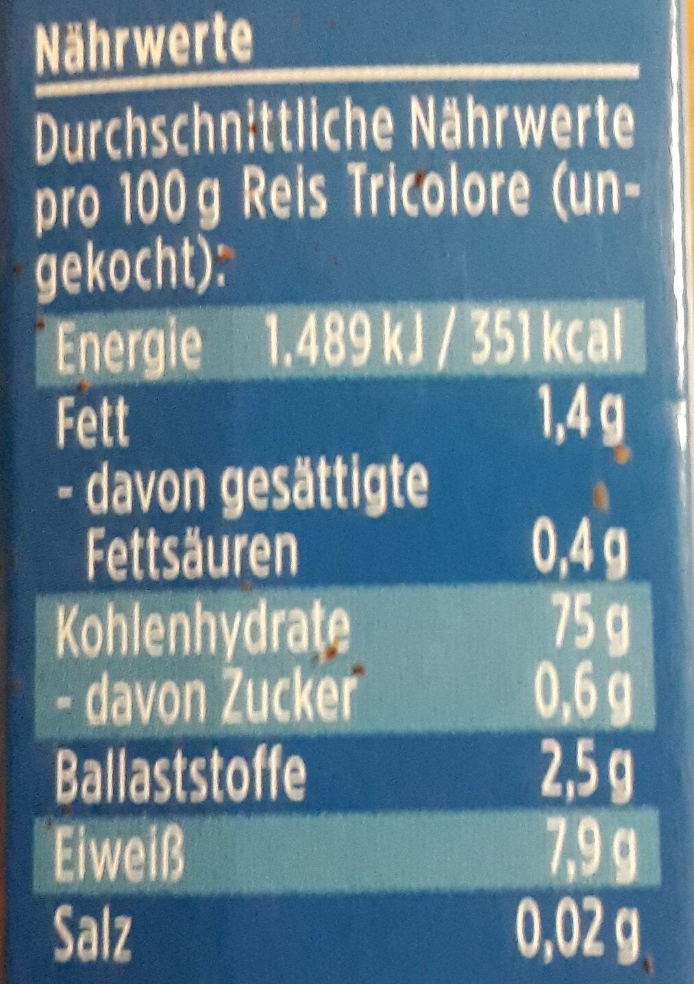 Davert Reis Tricolore mit Wildreis - Voedingswaarden - de