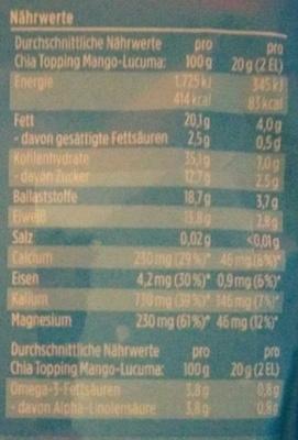 Chia Topping Mango-Lucuma - Nutrition facts - de