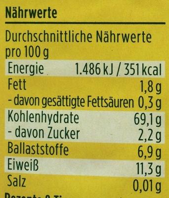 Couscous Vollkorn - Voedingswaarden