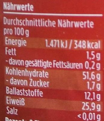 Rote Linsen - Informations nutritionnelles