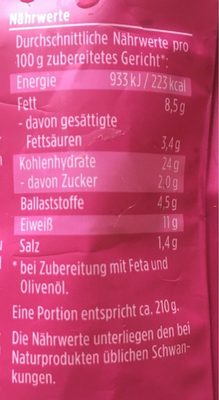Bulgur salat mit roten linsen - Informations nutritionnelles - fr