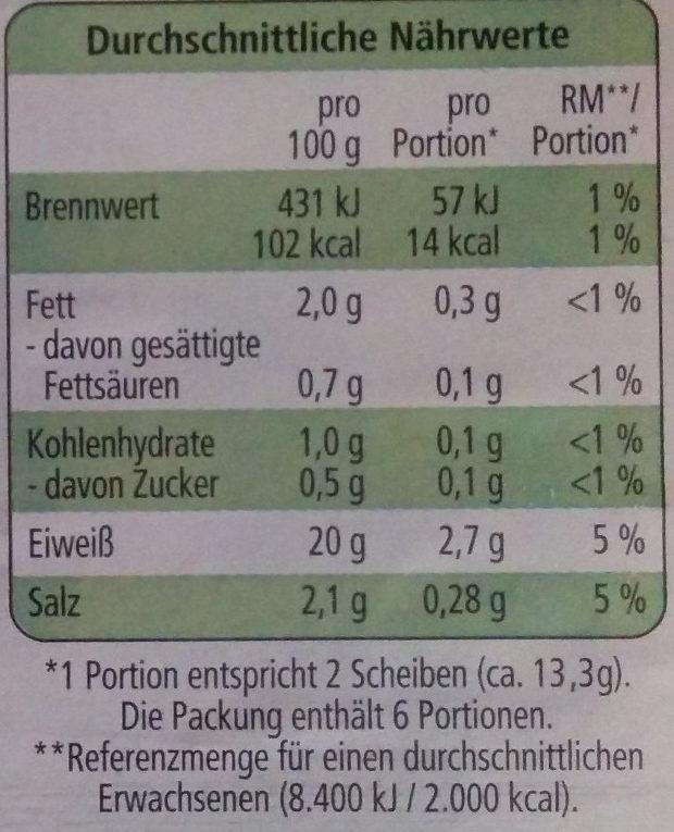 Hähnchen Grillbraten - Nährwertangaben - de