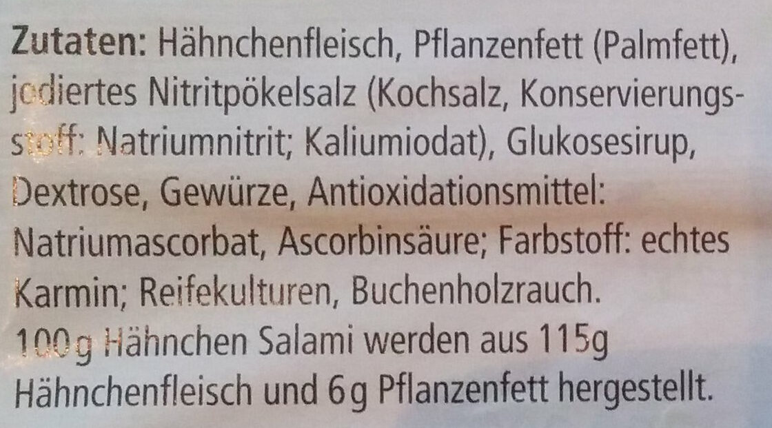 Hähnchen Salami - Zutaten - de