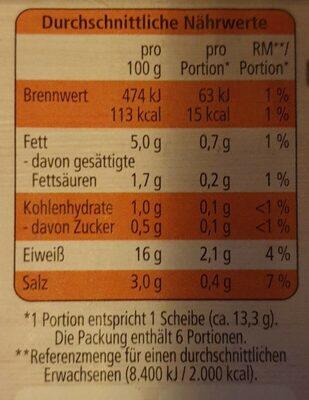 Geflügel Bacon - Nährwertangaben
