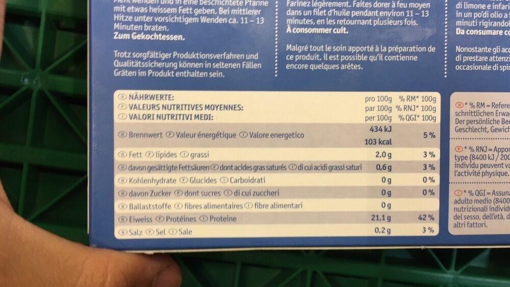 Filets de saumon sauvage du Pacifique - Informations nutritionnelles